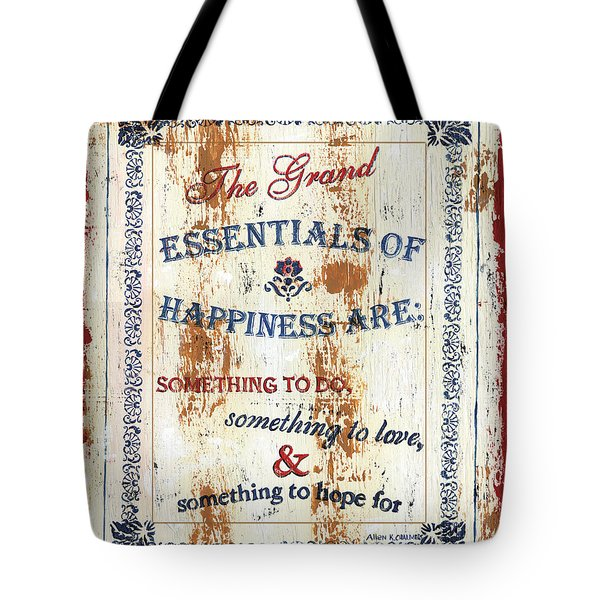 Grand Essentials Of Happiness Tote Bag by Debbie DeWitt