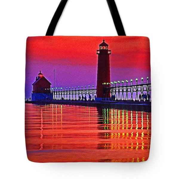 Grand Haven Lighthouse Tote Bag by Dennis Cox