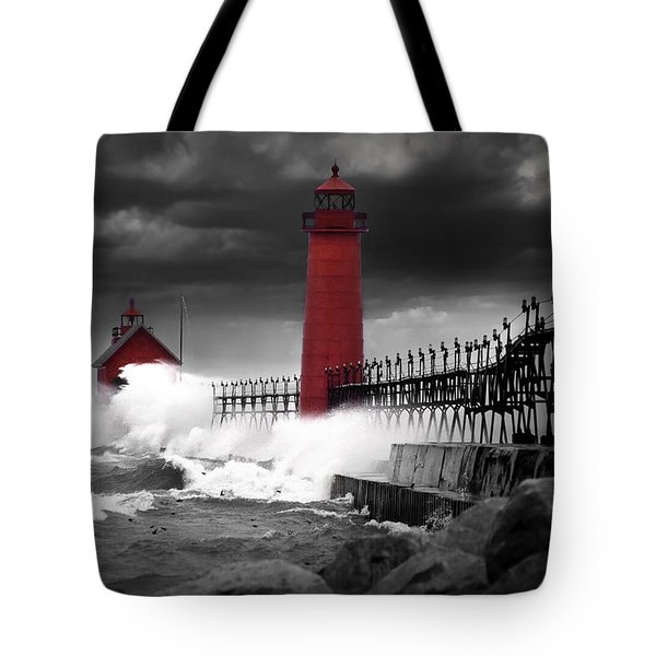 Grand Haven Lighthouse In A Rain Storm Tote Bag