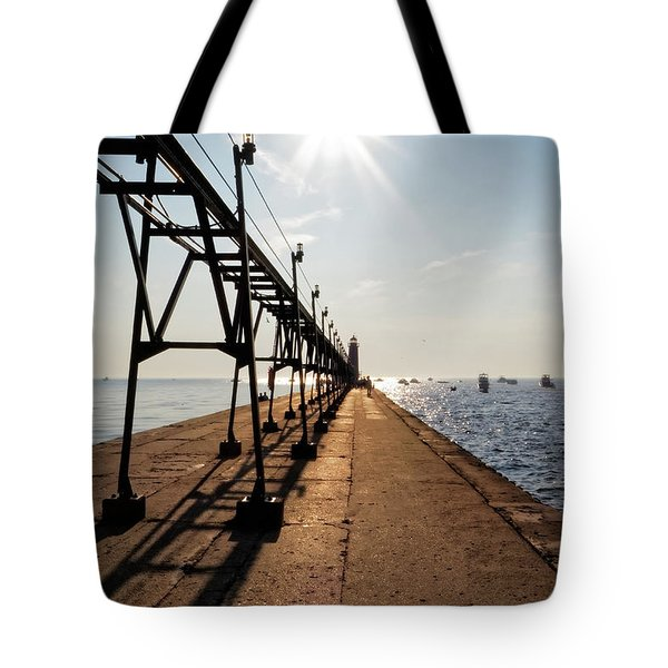 Tote Bag featuring the photograph Grand Haven Pier by Lars Lentz