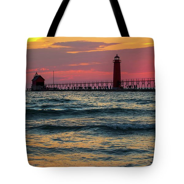 Grand Haven Pier Sail Tote Bag