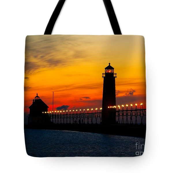 Grand Haven Sunset Tote Bag by Nick Zelinsky
