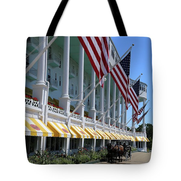 Grand Hotel With Taxi Tote Bag