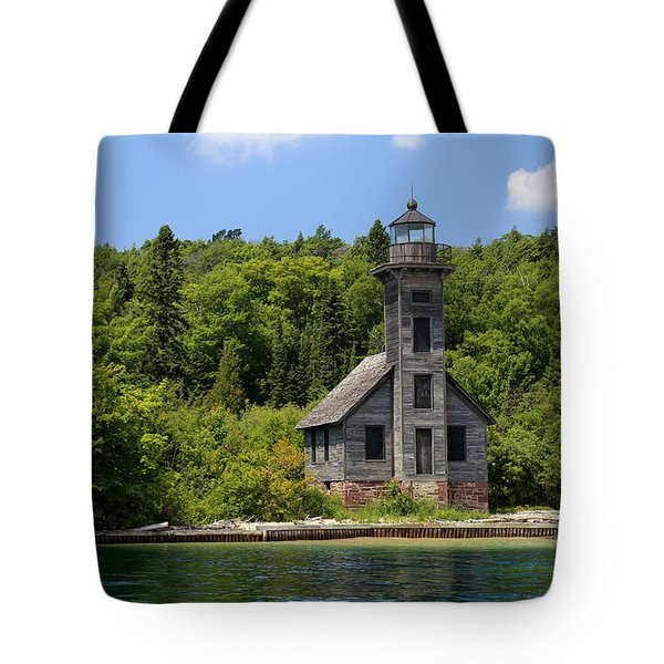 Grand Island Lighthouse 4 Tote Bag by Mary Bedy