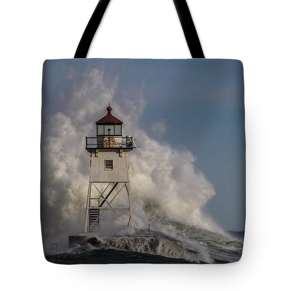 Tote Bag featuring the photograph Grand Marais Light House by Paul Freidlund