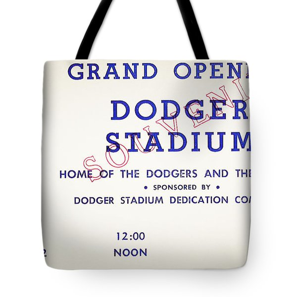 Grand Opening Dodger Stadium Ticket Stub 1962 Tote Bag by Bill Cannon
