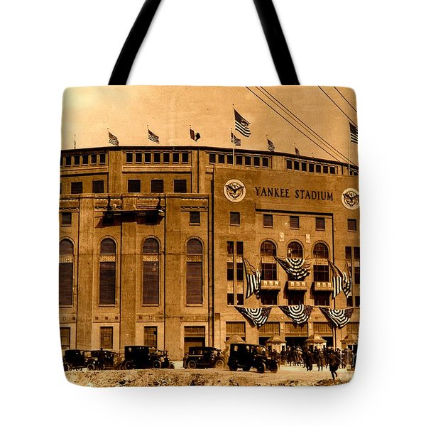 Tote Bag featuring the photograph Grand Opening Of Old Yankee Stadium April 18 1923 by Peter Gumaer Ogden