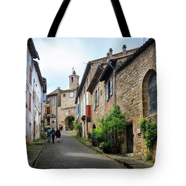 Grand Rue De L'horlogue In Cordes Sur Ciel Tote Bag by RicardMN Photography