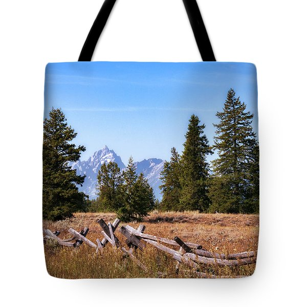 Tote Bag featuring the photograph Grand Teton And Fence by Sharon Seaward