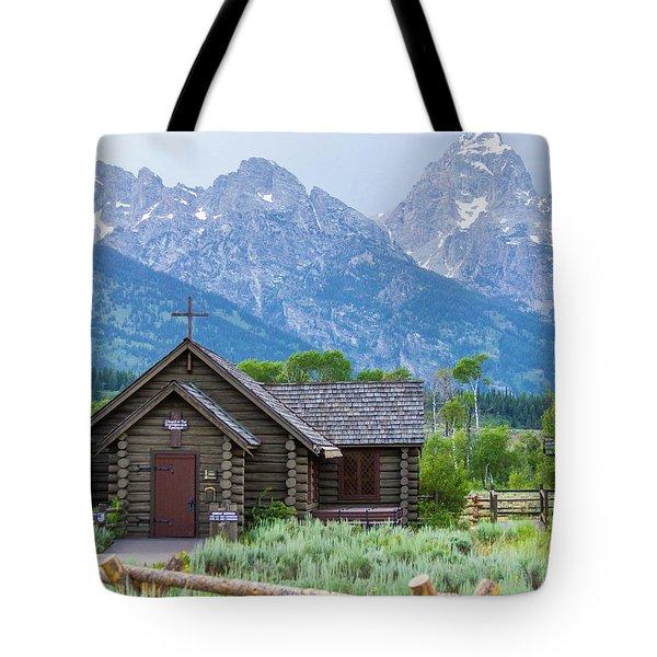 Tote Bag featuring the photograph Grand Teton Church by Dawn Romine