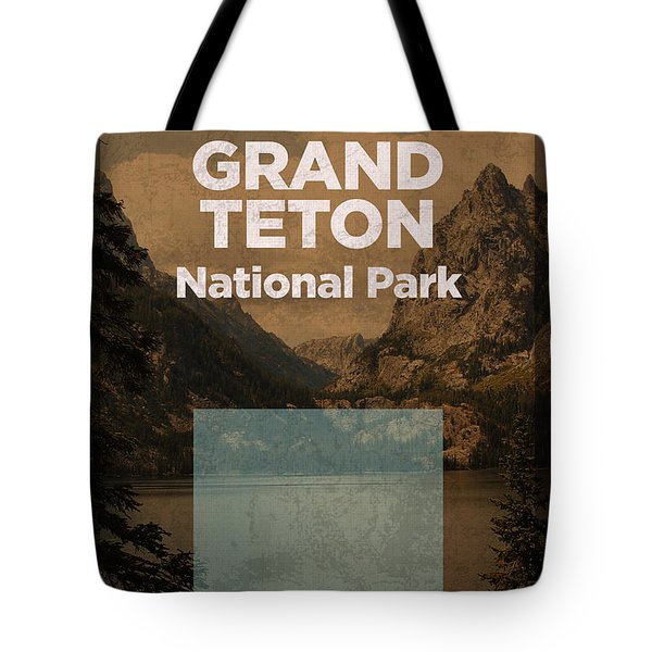 Grand Teton National Park In Wyoming Travel Poster Series Of National Parks Number 24 Tote Bag