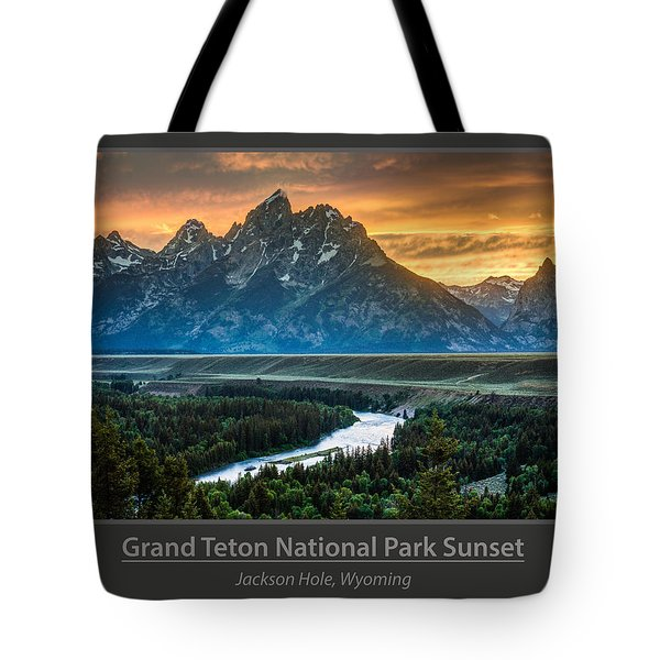 Grand Teton National Park Sunset Poster Tote Bag by Gary Whitton