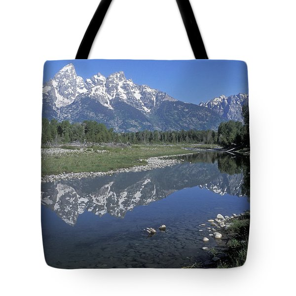 Grand Teton Reflection At Schwabacher Landing Tote Bag by Sandra Bronstein