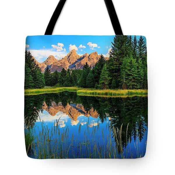 Grand Teton Reflections In Snake River Tote Bag
