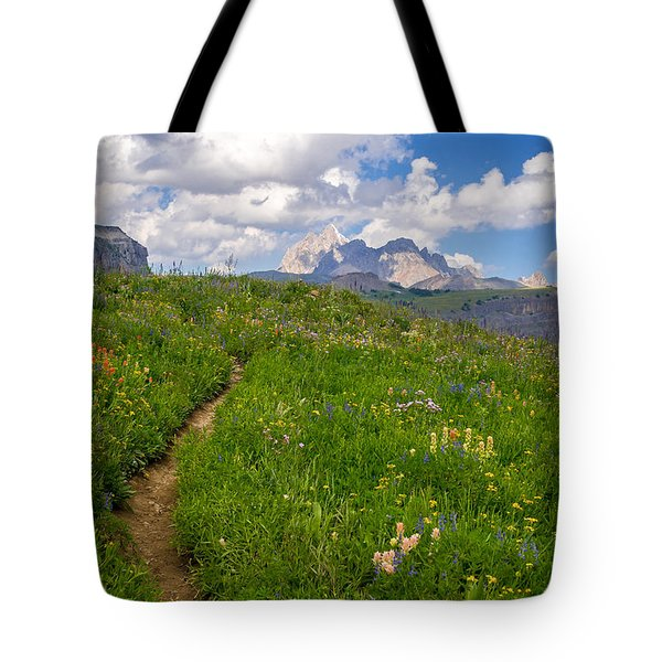 Tote Bag featuring the photograph Grand Teton Scenic Hiking Path by Serge Skiba