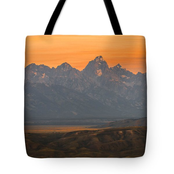 Tote Bag featuring the photograph Grand Teton Sunset by Serge Skiba