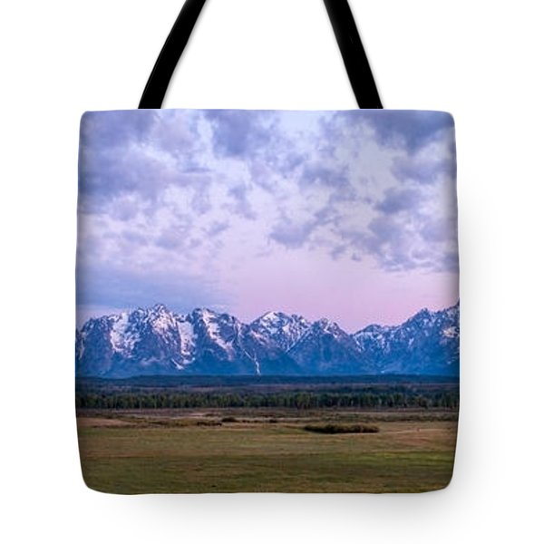 Grand Tetons Before Sunrise Panorama - Grand Teton National Park Wyoming Tote Bag