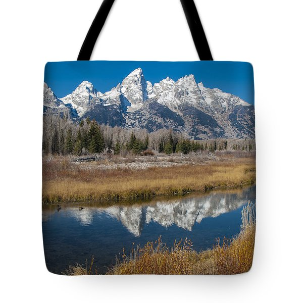 Tote Bag featuring the photograph Grand Tetons by Gary Lengyel
