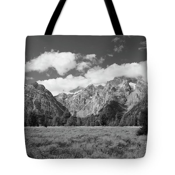 Grand Tetons In Black And White Tote Bag