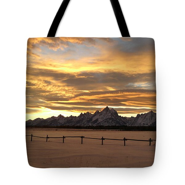 Grand Tetons In January Glory Tote Bag