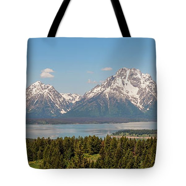 Grand Tetons Over Jackson Lake Panorama Tote Bag