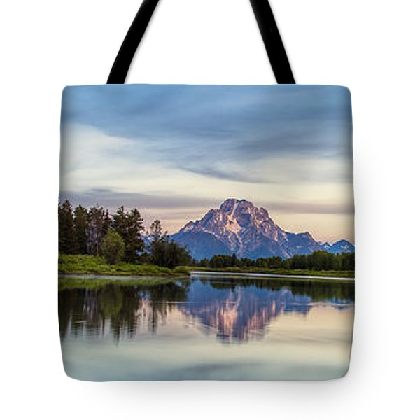 Grand Teton's Oxbow Panorama Tote Bag