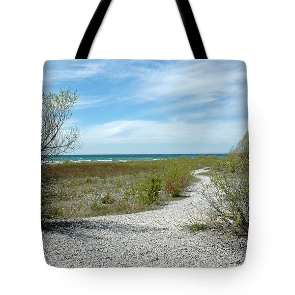 Tote Bag featuring the photograph Grand Traverse Bay Path by LeeAnn McLaneGoetz McLaneGoetzStudioLLCcom