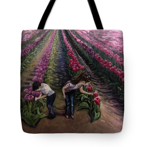 Tote Bag featuring the painting Grandchildren At Roosengaarde  by J Reynolds Dail