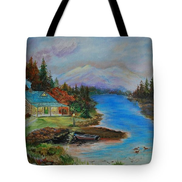 Tote Bag featuring the painting Grandmas Cabin by Leslie Allen