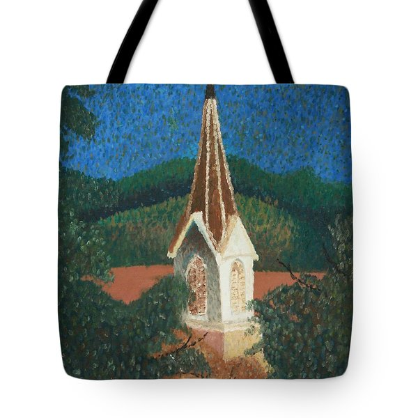 Tote Bag featuring the painting Grandmas Church by Jacqueline Athmann