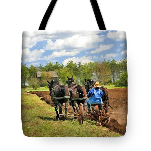 Tote Bag featuring the painting Grandpa And His Team Of Horses At Old World Wisconsin by Christopher Arndt