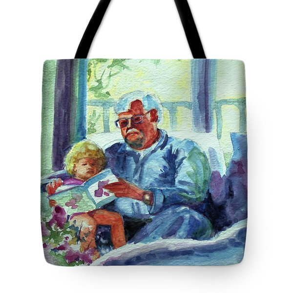 Tote Bag featuring the painting Grandpa Reading by Kathy Braud