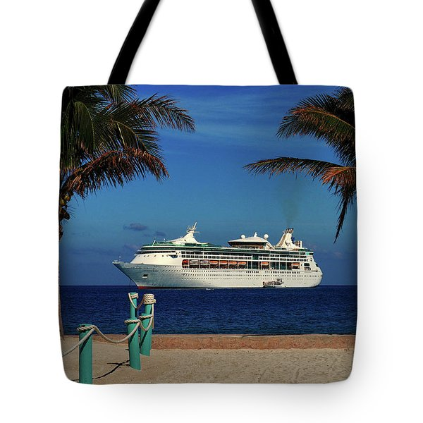 Granduer Of The Seas Anchored At Coco Cay Tote Bag by Bill Swartwout