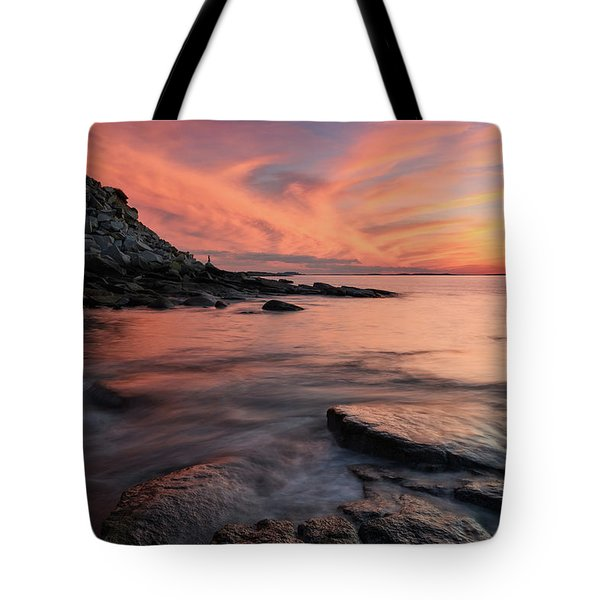 Tote Bag featuring the photograph Granite Sunset Rockport Ma. by Michael Hubley