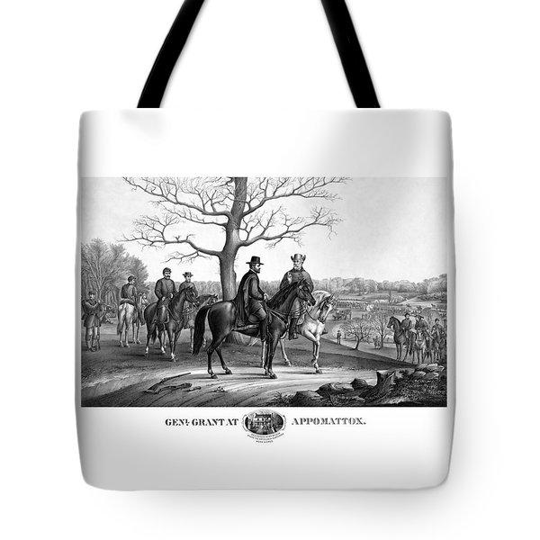 Grant And Lee At Appomattox Tote Bag
