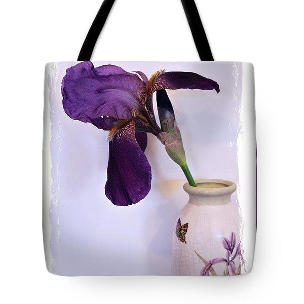Grape Iris In A Vase Tote Bag