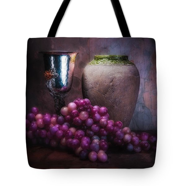 Grapes And Silver Goblet Tote Bag by Tom Mc Nemar