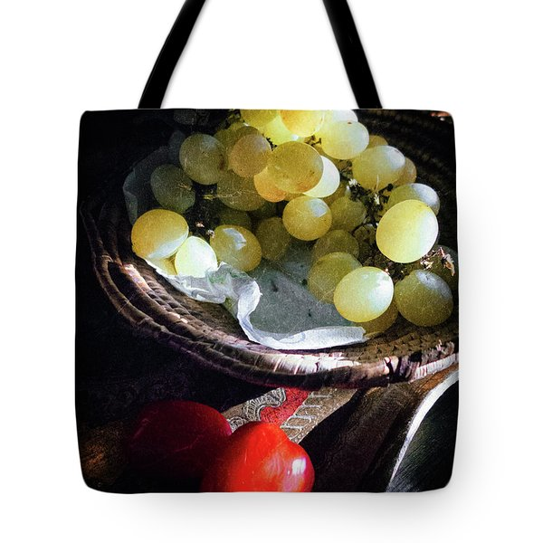 Tote Bag featuring the photograph Grapes And Tomatoes by Silvia Ganora