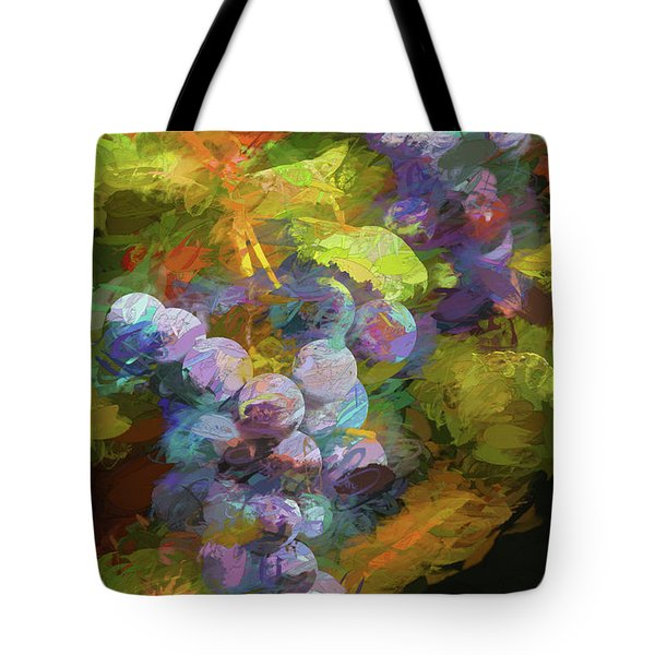 Tote Bag featuring the photograph Grapes In Abstract by Penny Lisowski