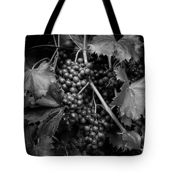 Grapes In Black And White Tote Bag
