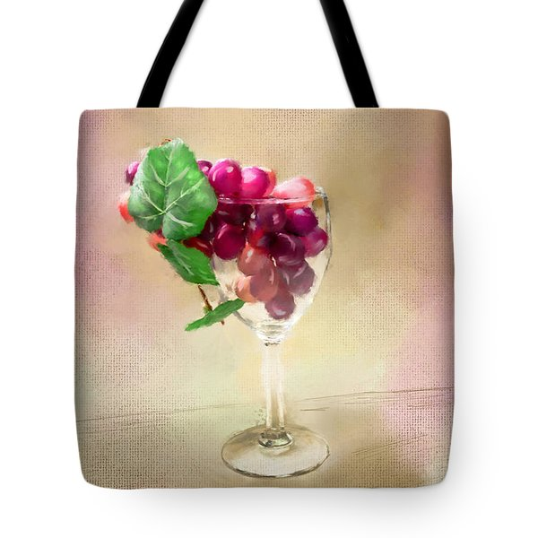 Tote Bag featuring the photograph Grapes Of Wine In Glass by Mary Timman
