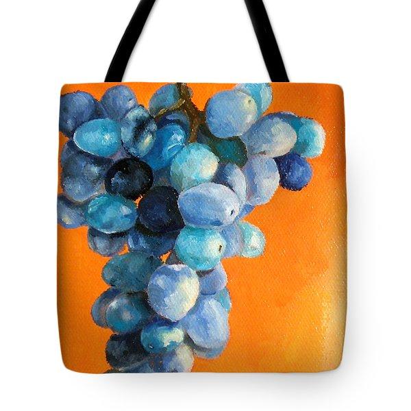 Grapes On Orange Tote Bag by Diane Kraudelt