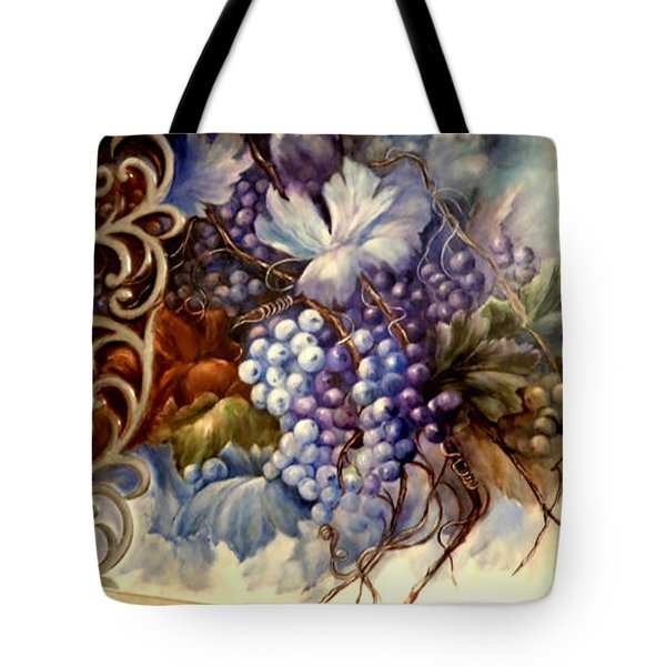 Grapes On Porcelain Tray Tote Bag