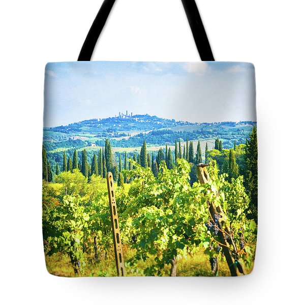 Tote Bag featuring the photograph Grapevine In San Gimignano Tuscany by Silvia Ganora