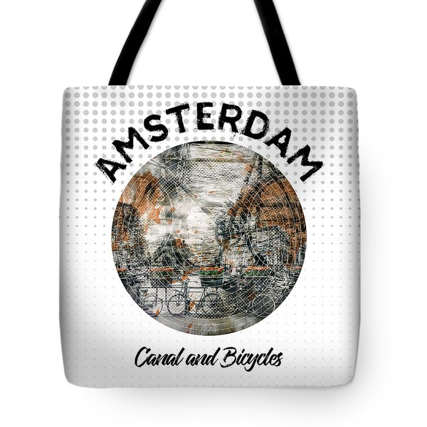 Graphic Art Amsterdam Canal And Bicycles Tote Bag