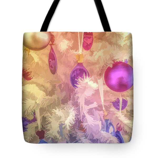 Tote Bag featuring the photograph Graphic Rainbow Christmas Tree Ornaments by Aimee L Maher Photography and Art Visit ALMGallerydotcom