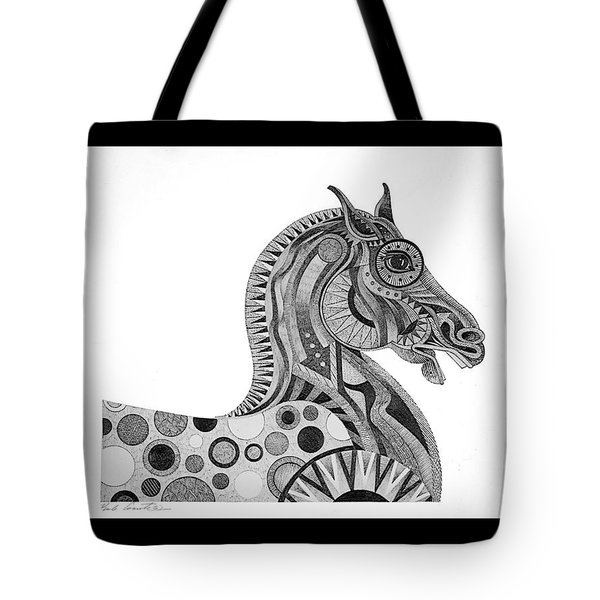 Graphite Horse Tote Bag