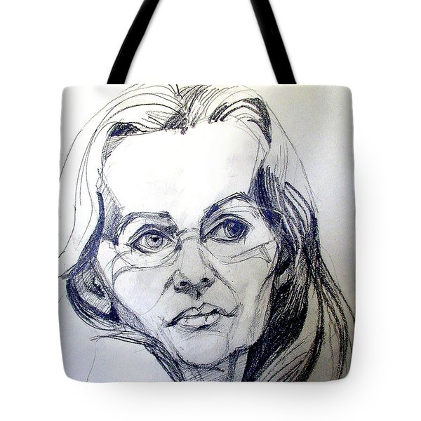 Tote Bag featuring the drawing Graphite Portrait Sketch Of A Woman With Glasses by Greta Corens