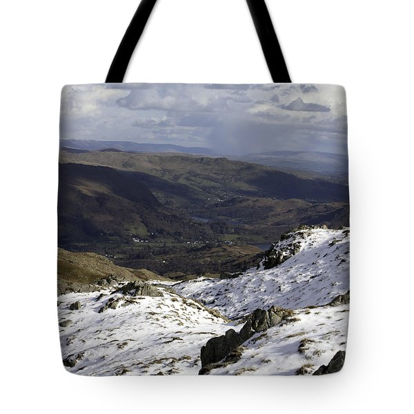 Grasmere And Rydal Water From Below Codale Head On High Raise Grasmere Lake District Cumbria England Tote Bag
