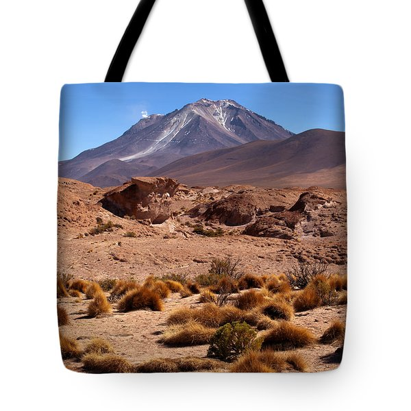 Grass And Ollague Volcano Tote Bag